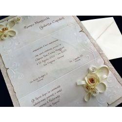 Partecipazione intera effetto pergamena con rose