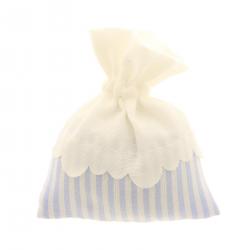 Sacchetto porta confetti a righe bicolore orlo tondo