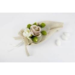 Sacchetto Calla beige portaconfetti con fiori - Matrimonio / Comunione