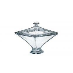 Scatola con coperchio in cristallo Quadro 22.5 cm