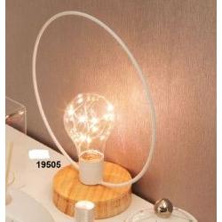 Lampada led cerchio con base legno