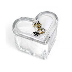 Scatolina cuore in cristallo con rosario bomboniera comunione - Memory 2016