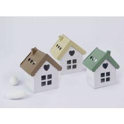 Casa Lanterna bianca con tappo colorato portaconfetti - matromonio / comunione