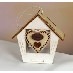 Casetta in legno con cuore portaconfetti
