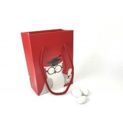 Shopper Gufo Laurea rosso