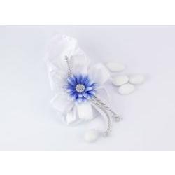 Sacchetto seta portaconfetti con fiore blu Gioia