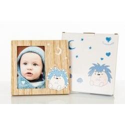 Portafoto legno con Animaletto Riccio - BOMBONIERE SOLIDALI