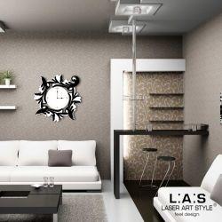 Orologio da parete con decoro stilizzato foglie- Laser Art Style