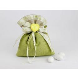 Saccoccino porta confetti verde con cuore - Nozze / Prima Comunione