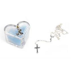 Scatolina cuore in cristallo con rosario bomboniera battesimo nascita - Memory 2016