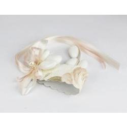 Segnaposto Porta Tovaglioli con 3 confetti decoro floreale con perle - bomboniera x matrimonio