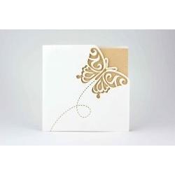Partecipazione avorio con farfalla e dettaglio dorato