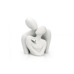 Scultura di innamorati con cuore in argento - Bongelli
