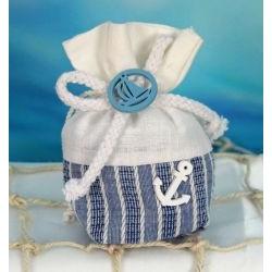 Sacchetto tessuto porta confetti mare