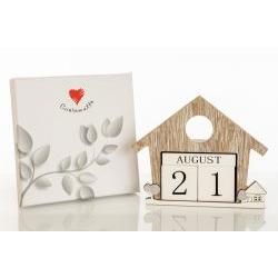Calendario perpetuo in legno casetta - BOMBONIERE SOLIDALI
