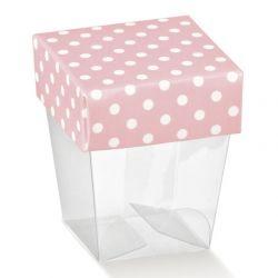 Scatolina portaconfetti rosa pois