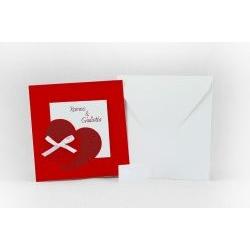Partecipazione quadrata rossa con cuore