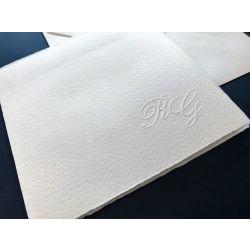 Partecipazione quadrata semplice carta avorio ruvida