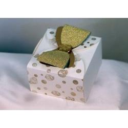 Scatolina cartone con fiocco nozze d'oro