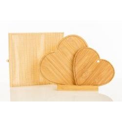 Tagliere Coppia Cuori d'arredo con appoggio in legno di bambù - BOMBONIERE SOLIDALI