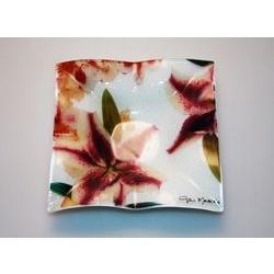 Piattino in vetro con decorazione floreale - 13cm - Gai Mattiolo