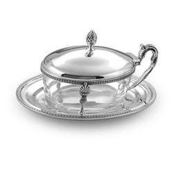 Formaggera ovale impero in argento e cristallo