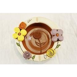 Posacenere con decoro floreale - ceramica