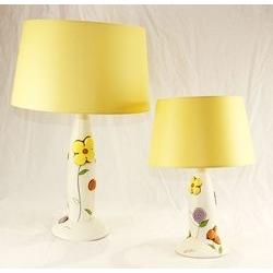Lume con decoro floreale - ceramica - 2 musure