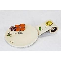 Poggiamestolo con decoro floreale - ceramica