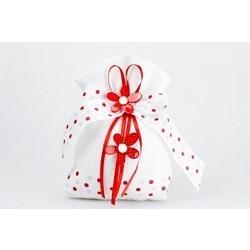 Sacchetto in tessuto bianco con due fiori rossi a pois bianchi