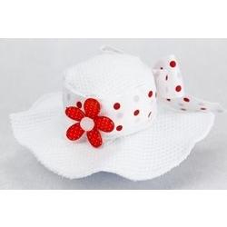 Cappello portaconfetti in tessuto con fiocco bianco a pois rossi
