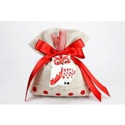 Saccoccino in tela con fiocco rosso e gufo in ceramica