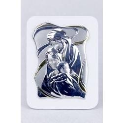 Icona Sacra Famiglia in lamina d'argento su legno bianco