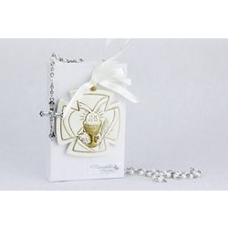 Vangelo bianco con icona calice e rosario