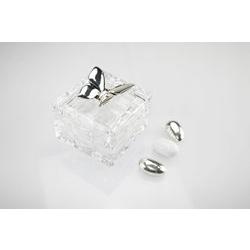 Cofanetto quadrato in cristallo con farfalla in argento