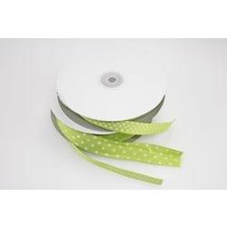 Nastro in rigatino verde con pois bianchi