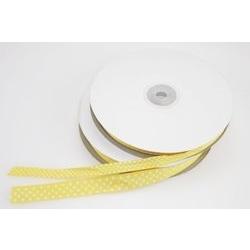 Nastro in rigatino giallo con pois bianchi