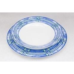 Servizio di piatti con bordi blu - 53pz
