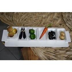 Vassoio con 6 vaschette portasalse - porcellana