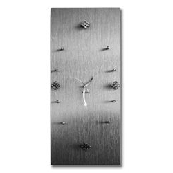 Orologio da parete in legno - color argento con strass