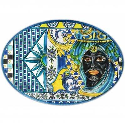 Piatto a servire ovale da collezione sicilia blu Baroque&Rock - Baci Milano