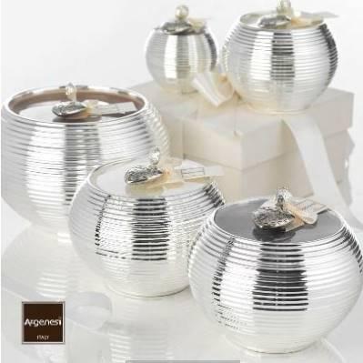 Porta candela MILLERIGHE in resina e argento - Argenesi