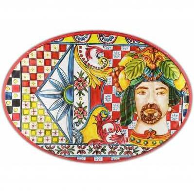 Piatto a servire ovale da collezione sicilia rossa Baroque&Rock - Baci Milano