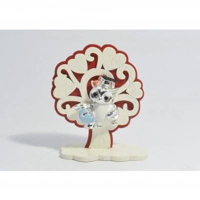 Albero della vita in legno Bianco e Rosso con gufo Collezione 2020