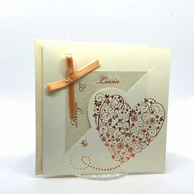 Partecipazione Matrimonio su cartoncino avorio quadrato con fiocchetto arancio