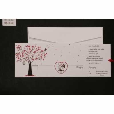 Partecipazione cartoncino bianco stampato a colori con applicazione nastro tulle