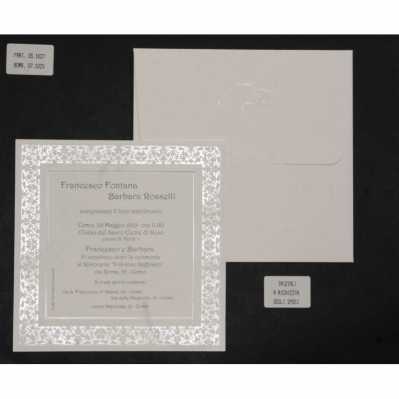 Partecipazione cartoncino quadrato avorio con greca