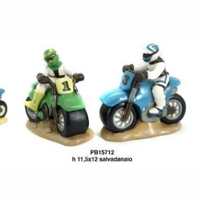 Salvadanaio Motociclista con moto - Mandorle