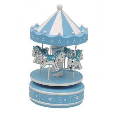 Giostra Carillon Con 4 Cavallini Azzurri