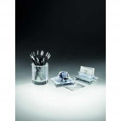 Set scrivania in cristallo - portapenne - bigliettini da visita - fermacarta - RANOLDI